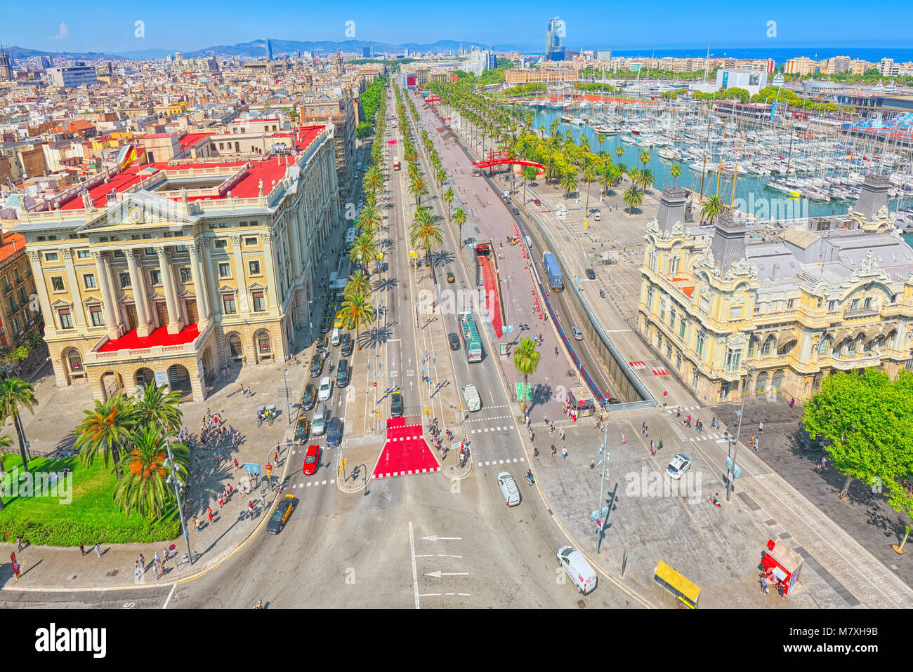 Barcelona- capital of the autonomy of Catalonia. Panorama from the monument to Christopher Columbus on the Barcelona. - Stock Image