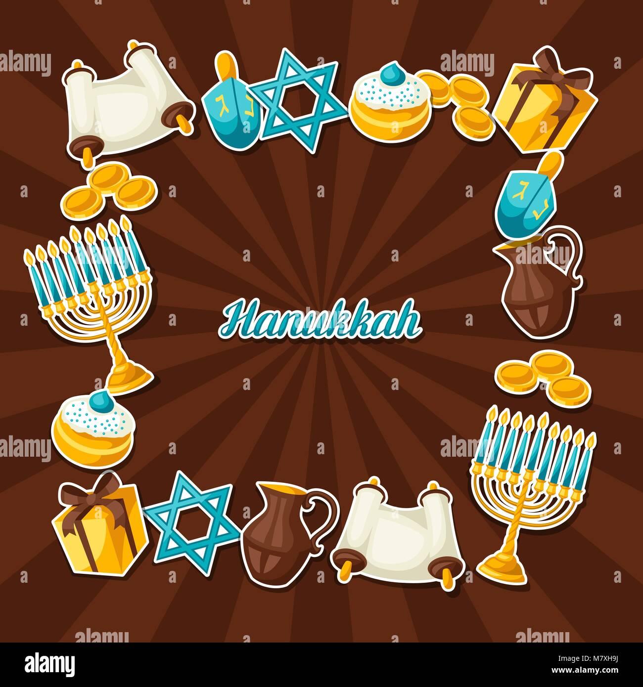 Jewish Hanukkah celebration frame with holiday sticker objects - Stock Vector