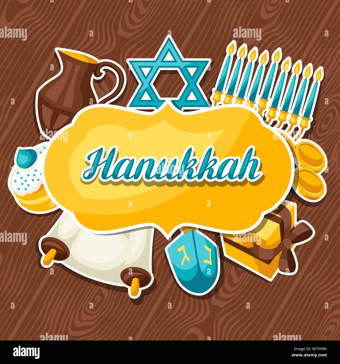 Jewish Hanukkah celebration card with holiday sticker objects - Stock Vector