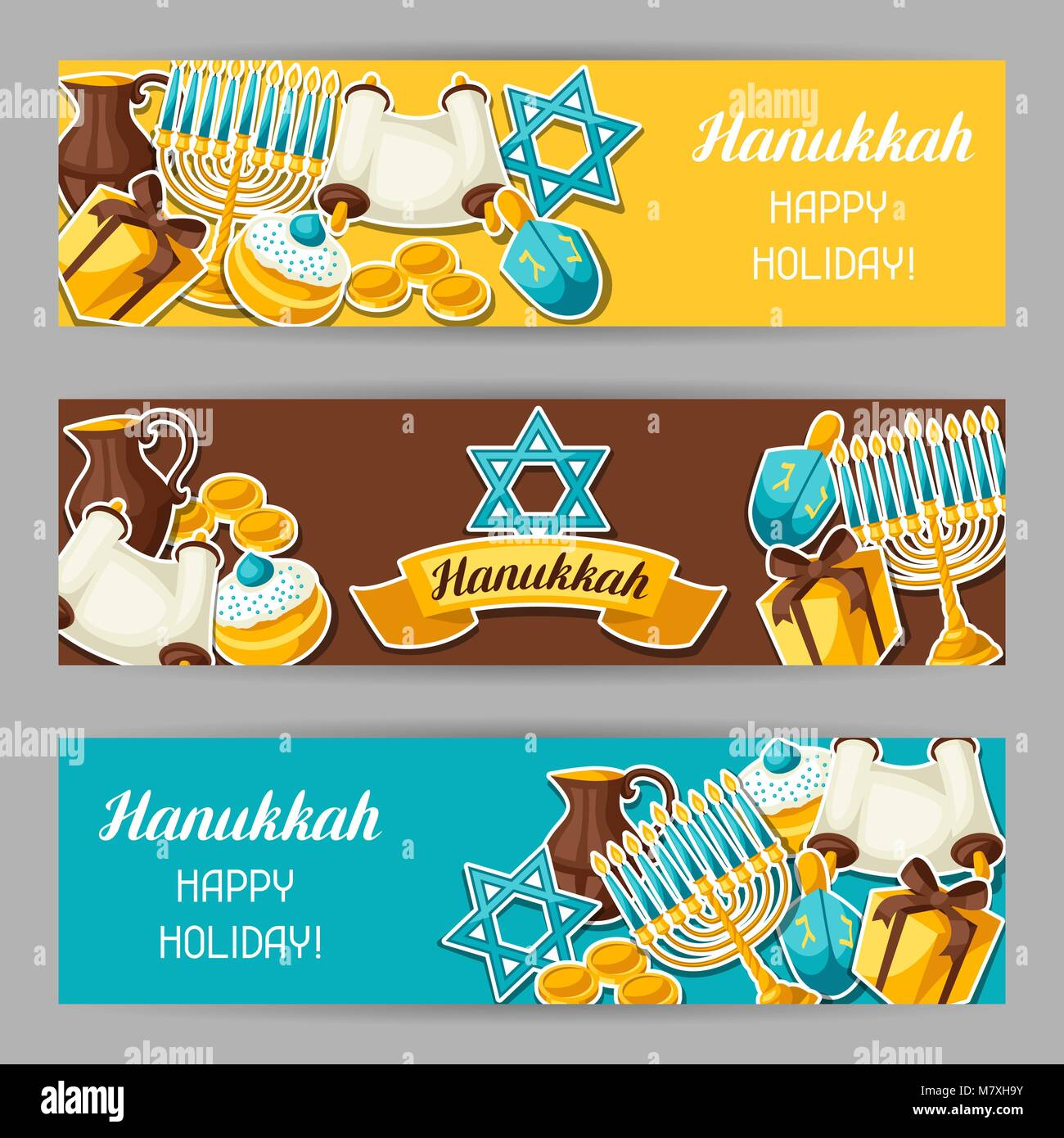Jewish Hanukkah celebration banners with holiday sticker objects - Stock Vector