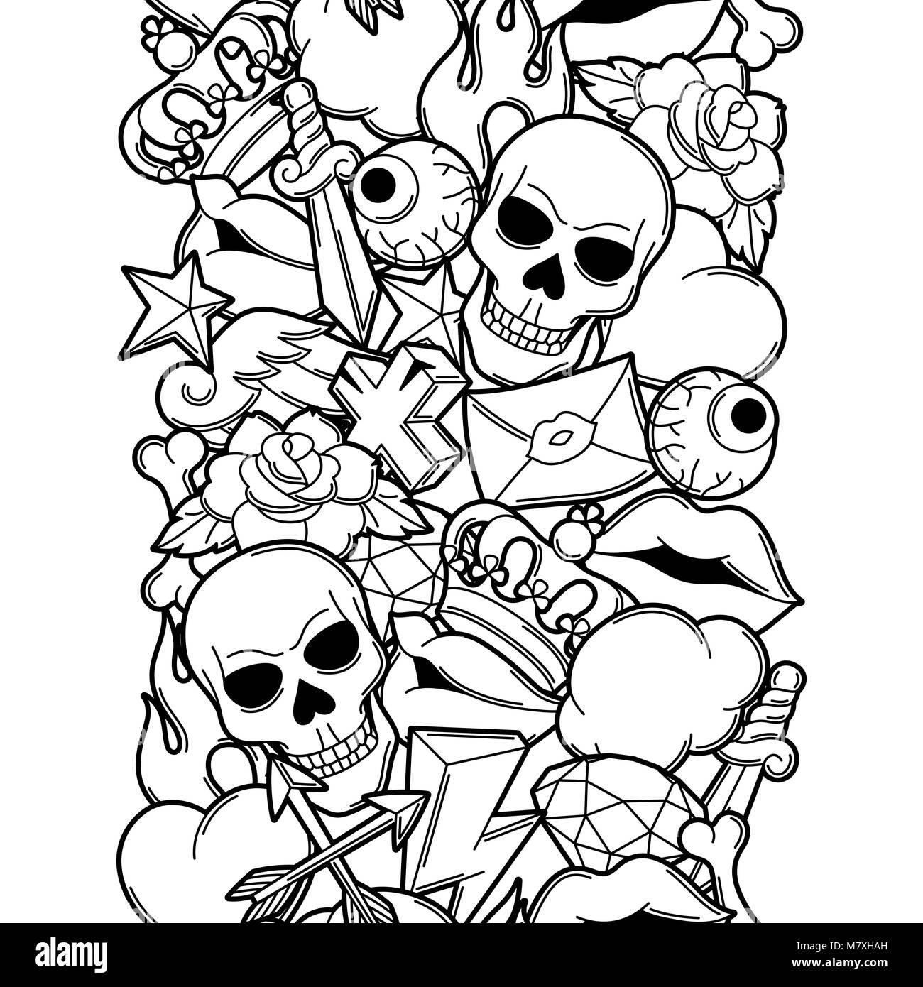 f6c6319d7 Seamless pattern with retro tattoo symbols. Cartoon old school illustration