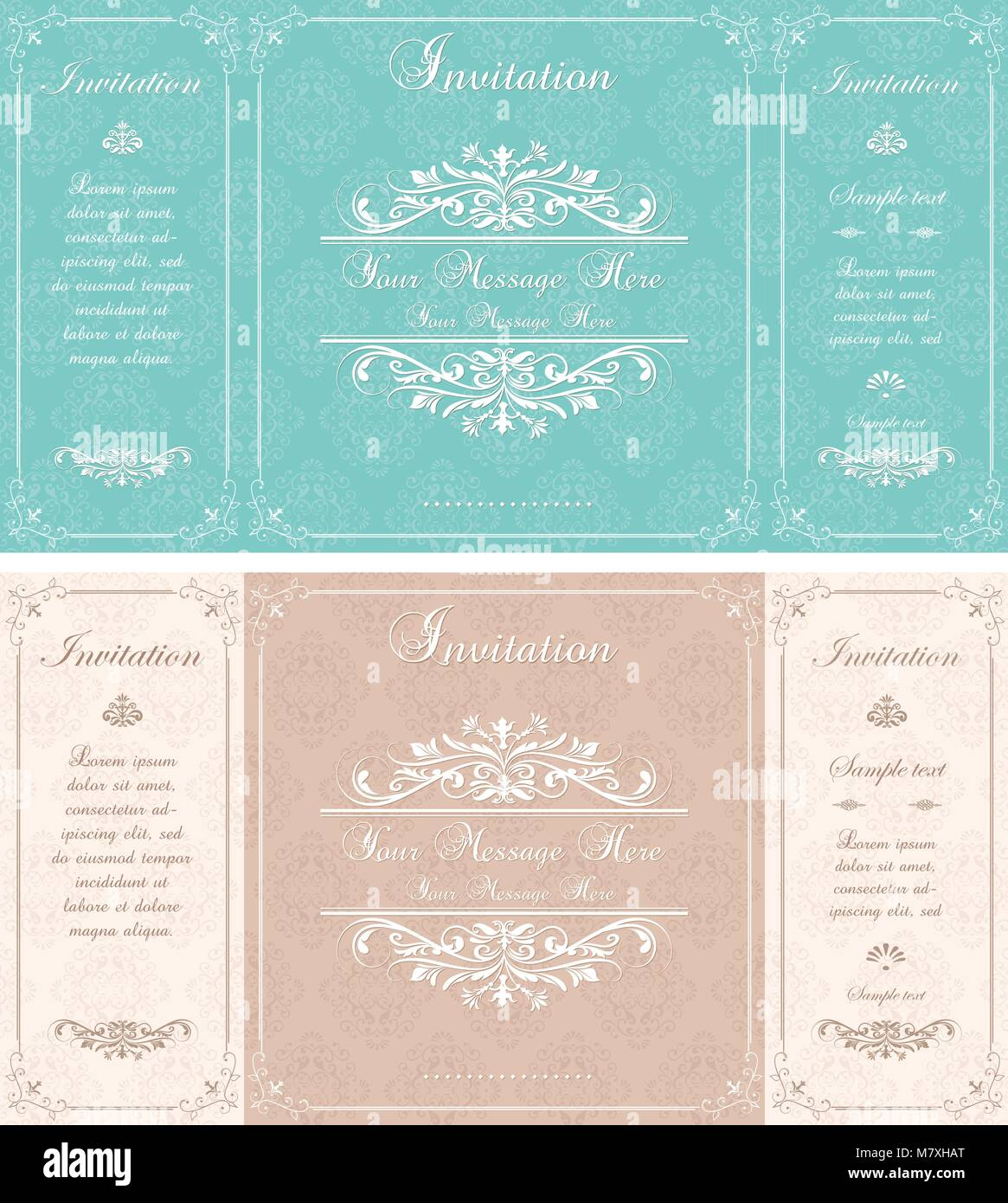 Set Of Wedding Invitation Cards With Abstract Floral