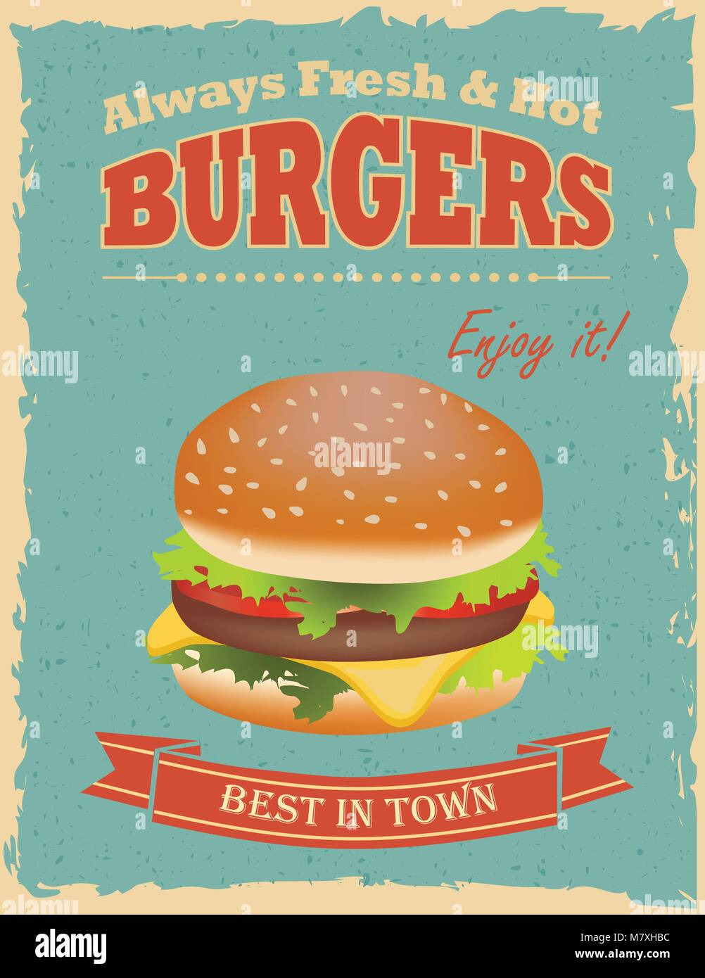 Fast Food Restaurant Poster With Retro Hamburger Stock Vector Image Art Alamy