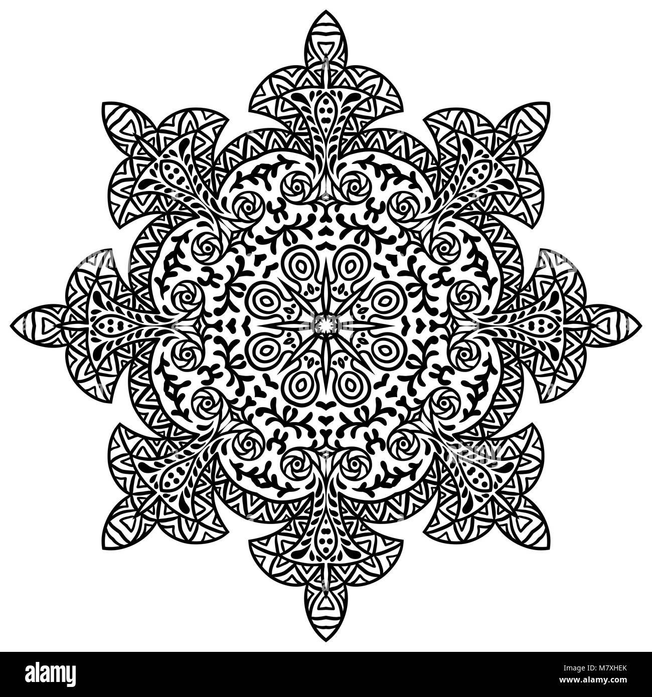 b825ea05a4906 Indian ethnic round ornament. Mandala. Hand drawn henna tattoo decorative  element