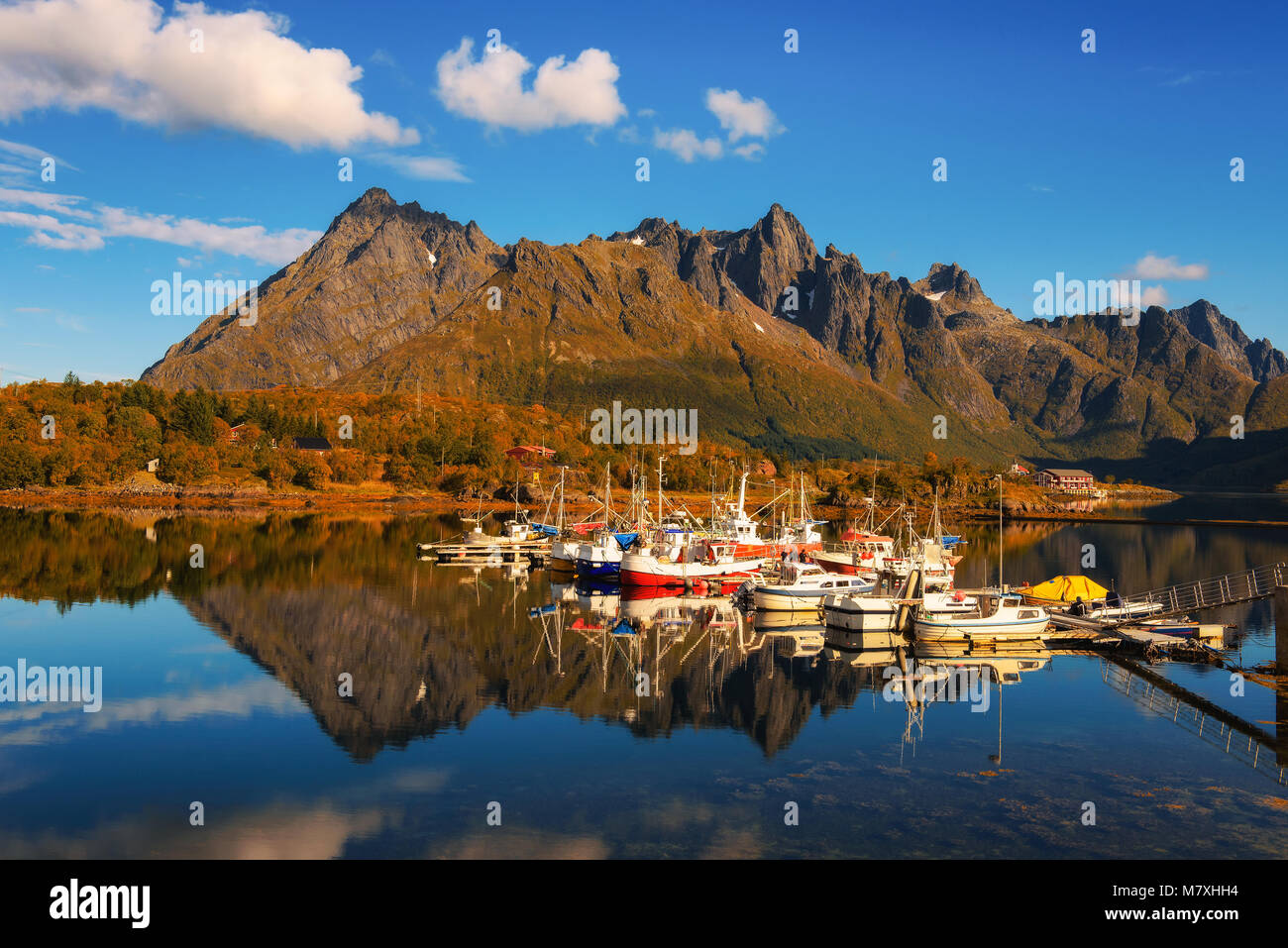 Fishing boats and yachts on Lofoten islands in Norway - Stock Image