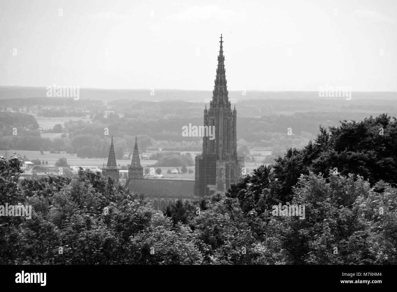 minster of ulm with the highest steeple panorama in a nostalgic black and white look Stock Photo