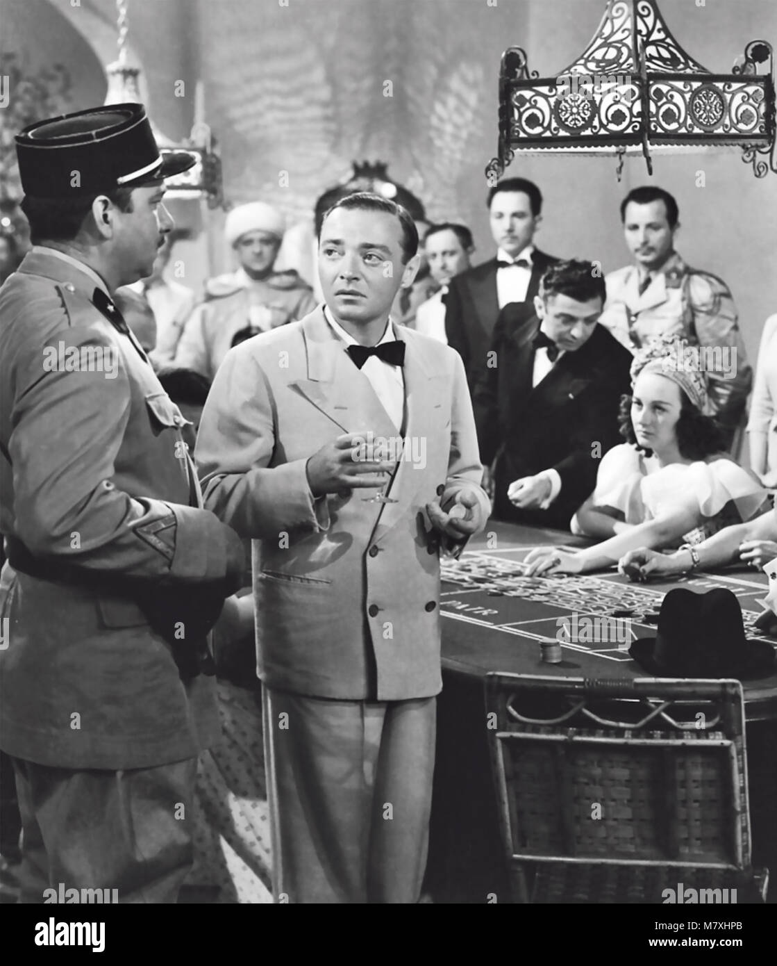 CASABLANCA 1942 Warner Bros film with from left: Claude Rains and  Peter Lorre - Stock Image