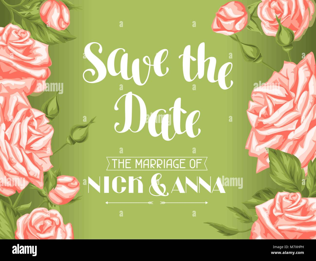 9a3c328938a Wedding invitation card template with roses. Calligraphic text and vintage  flowers - Stock Vector