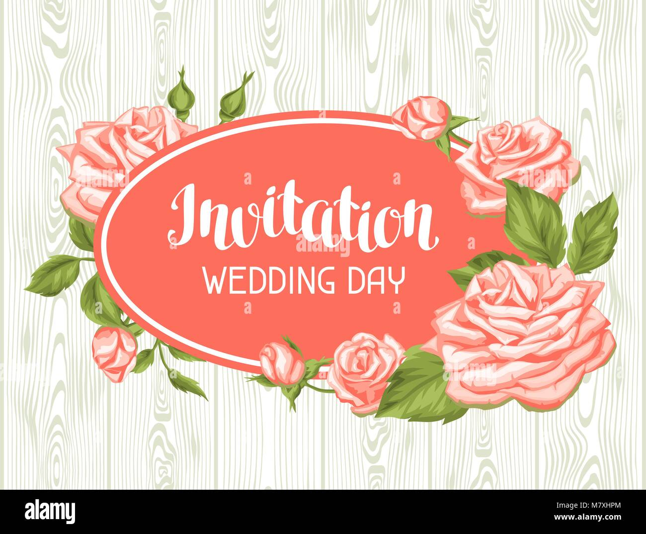Wedding invitation card template with roses. Calligraphic text and ...