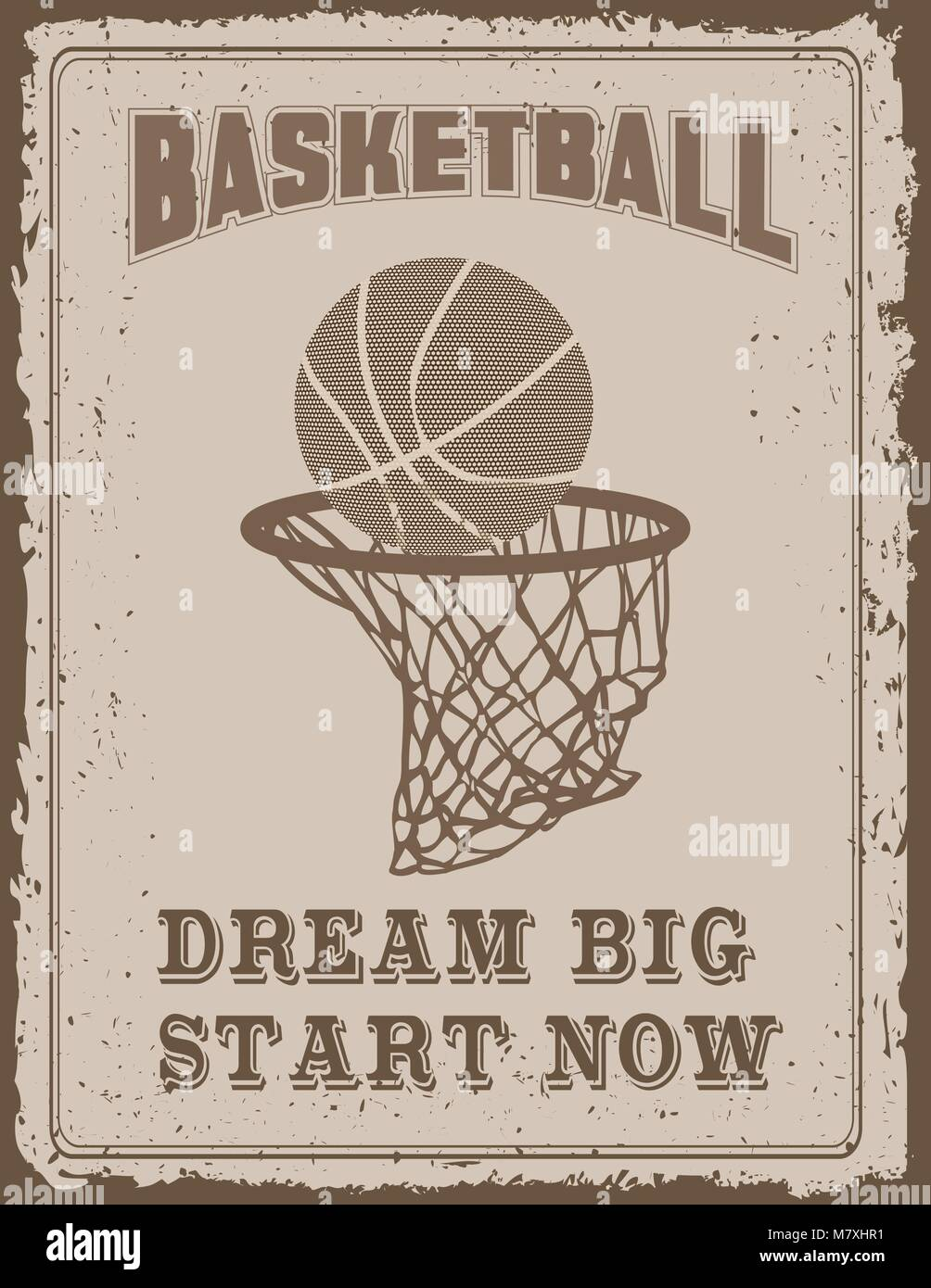 da9dfa49fefe Vintage sport poster with on old paper background Stock Vector Art ...