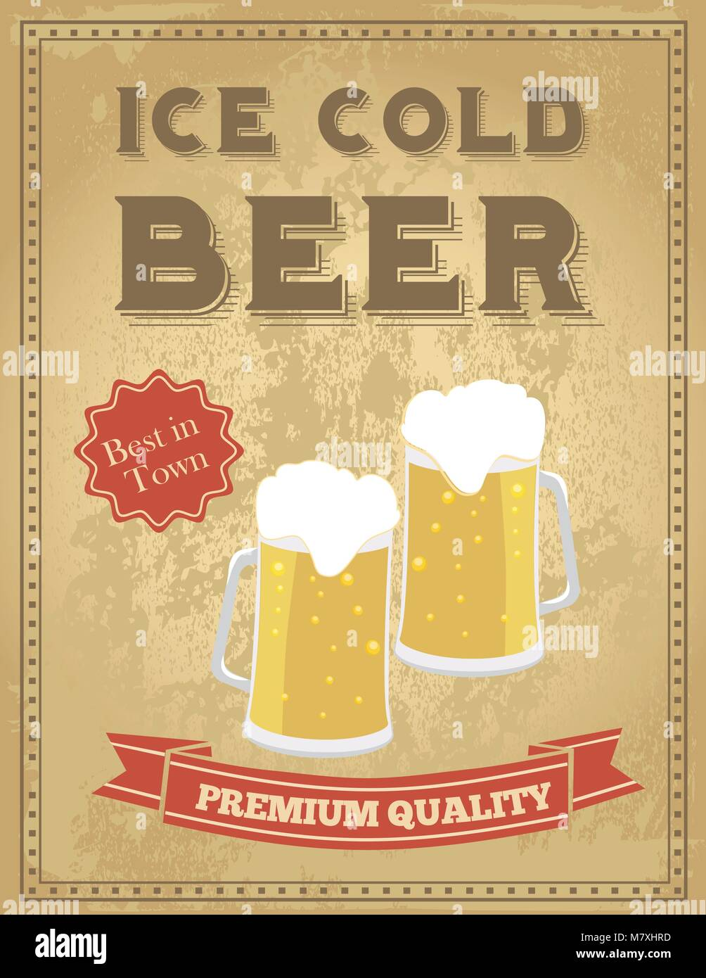 Vintage Beer Poster With Grunge Effects