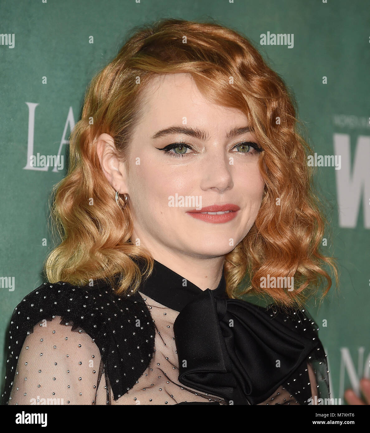 EMMA STONE American film actress arrives at the 11th Annual Celebration Of The 2018 Female Oscar Nominees Presented - Stock Image