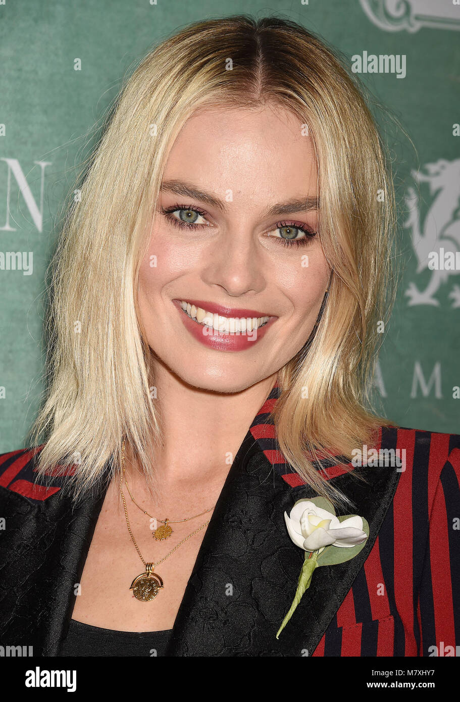 MARGOT ROBBIE Australian film actress arrives at the 11th Annual Celebration Of The 2018 Female Oscar Nominees Presented - Stock Image