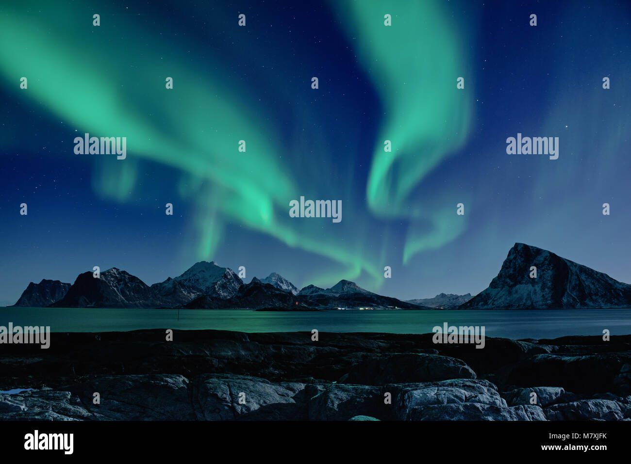 Northern Lights in Norway - Stock Image