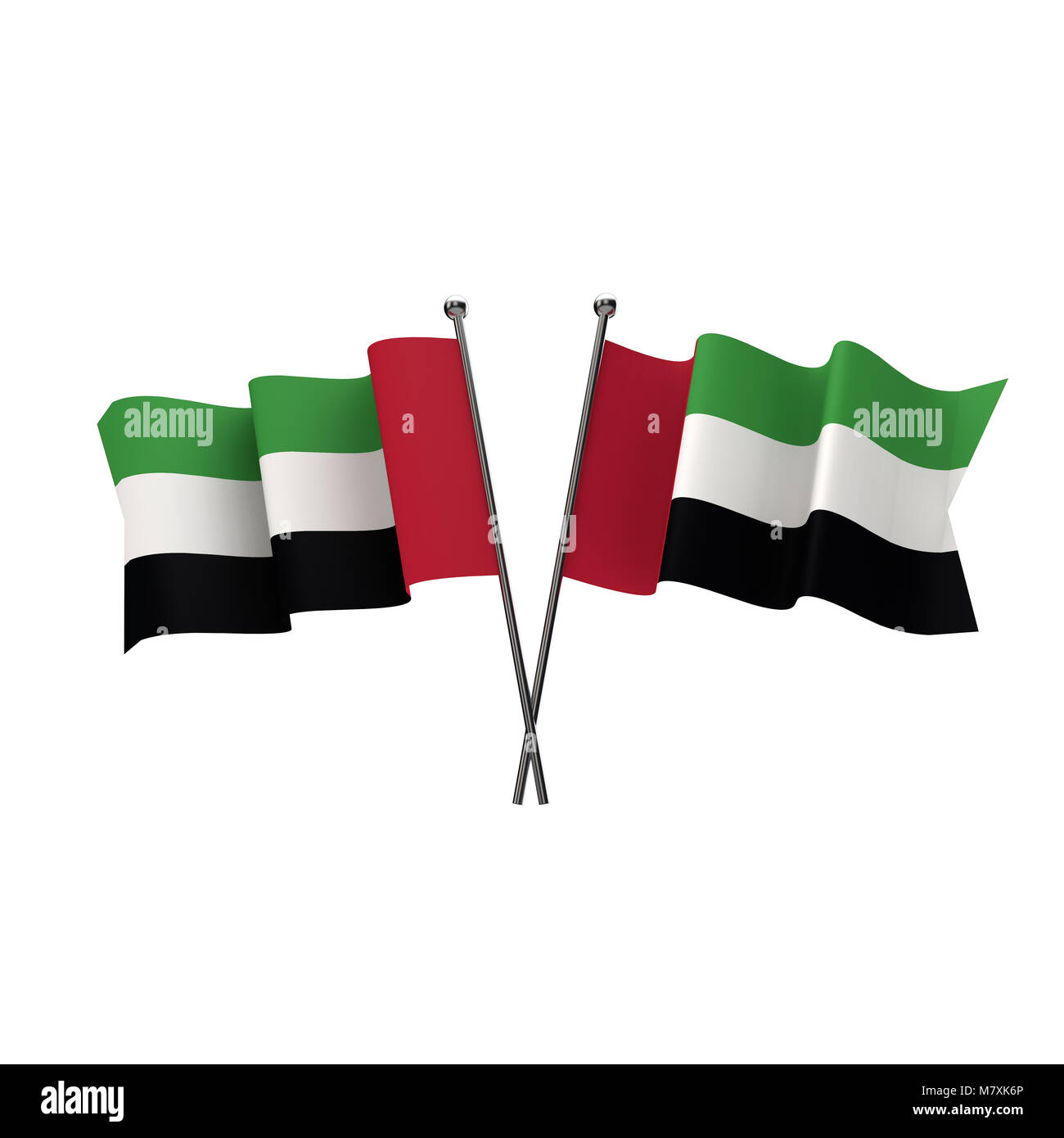 United Arab Emirates flags crossed isolated on a white background. 3D Rendering - Stock Image