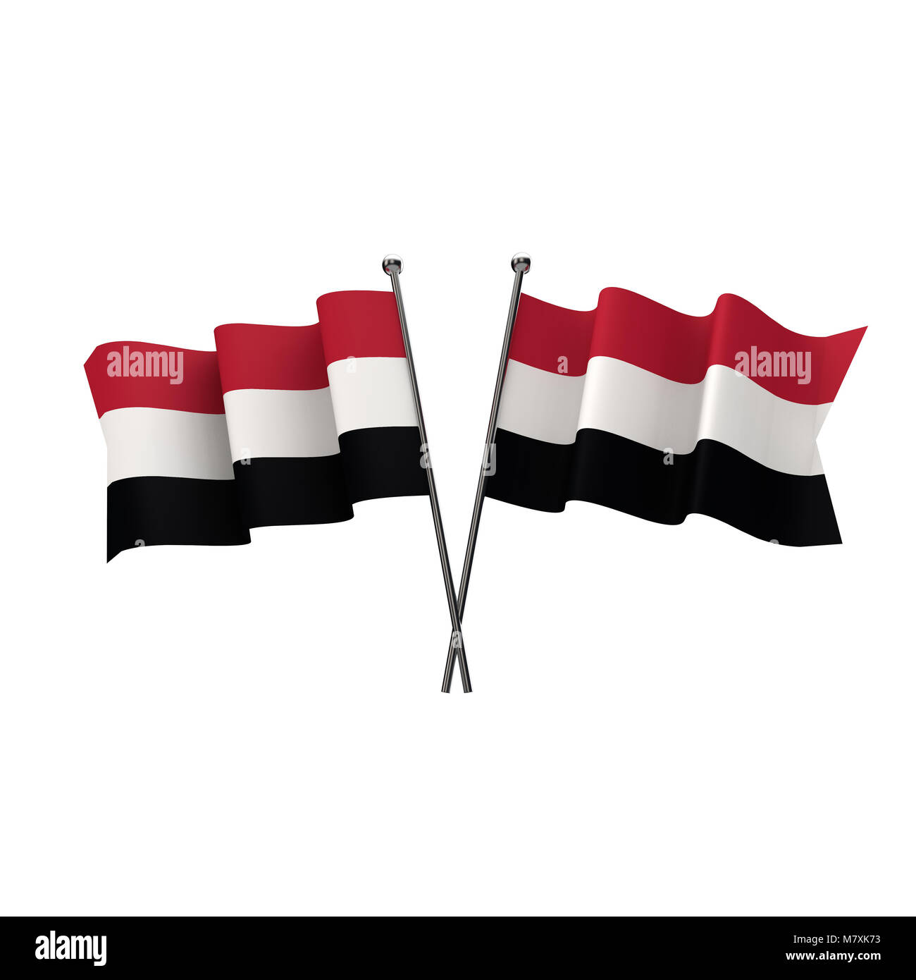 Yemen flags crossed isolated on a white background. 3D Rendering - Stock Image