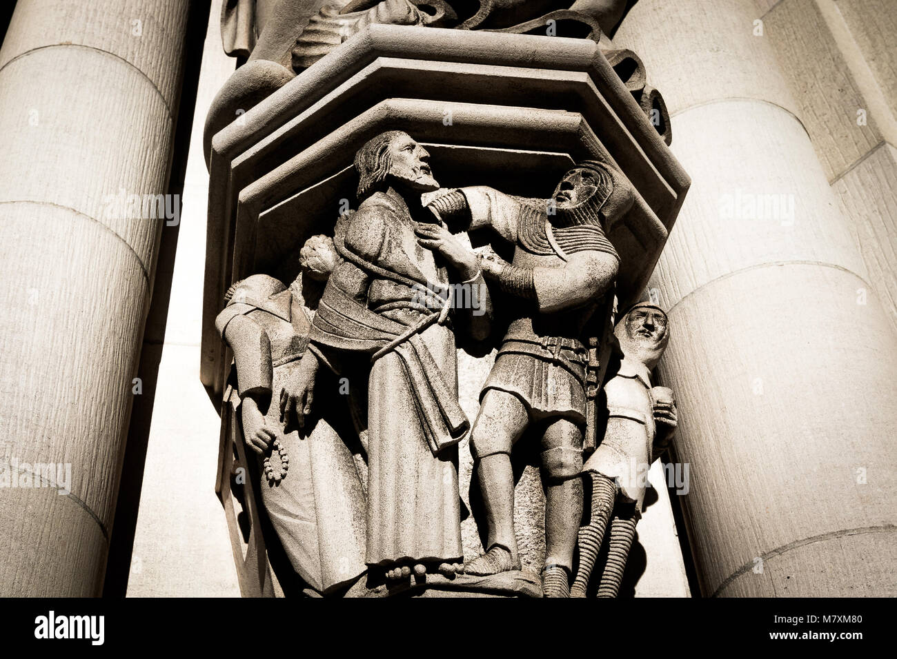 Details of the North Tower Portal of The Cathedral Church of St. John the Divine in Manhattan. - Stock Image