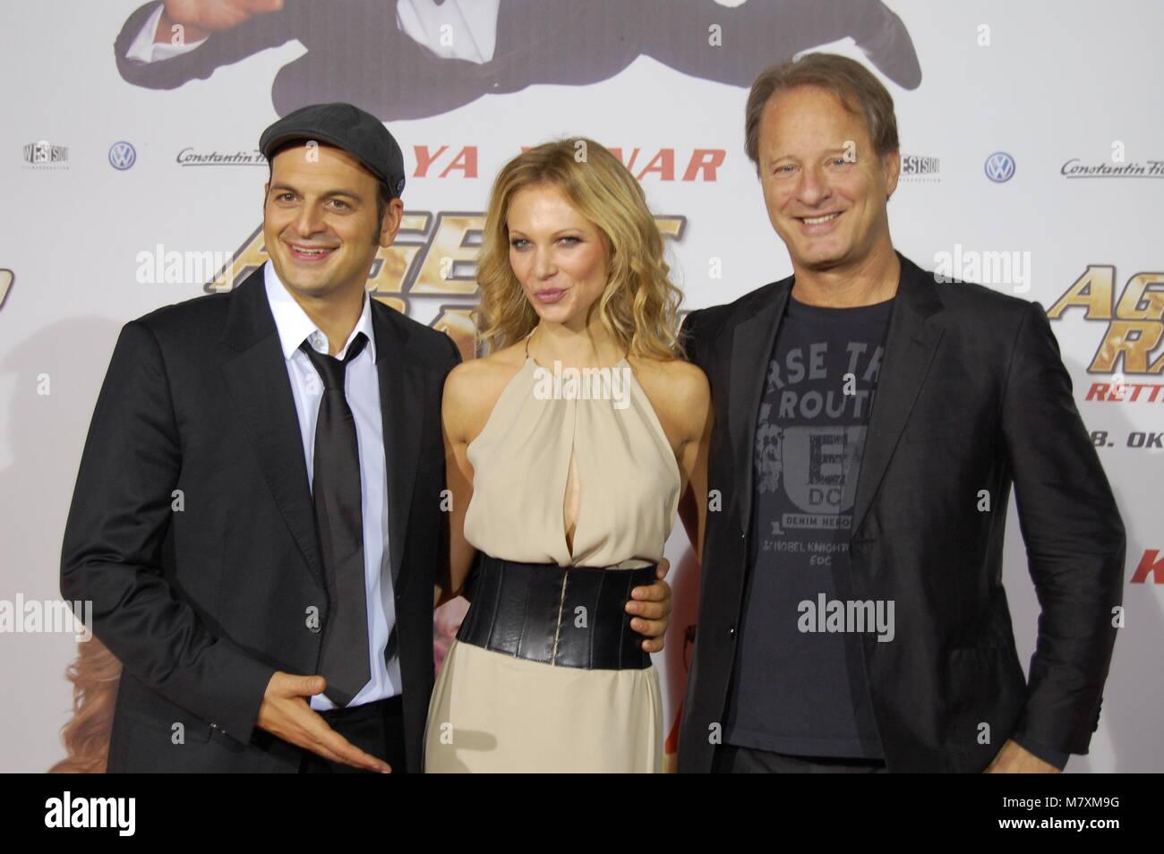 Kaya Yanar, Birte Glang, Tom Gerhardt attend the 'Agent Ranjid' Germany Premiere on October 17, 2012 in Cologne, Stock Photo
