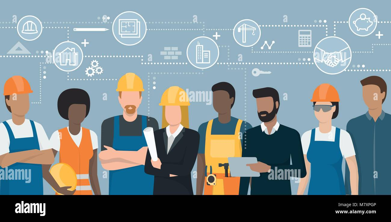 Construction workers and engineers team working together and network of concepts: architecture and real estate - Stock Vector