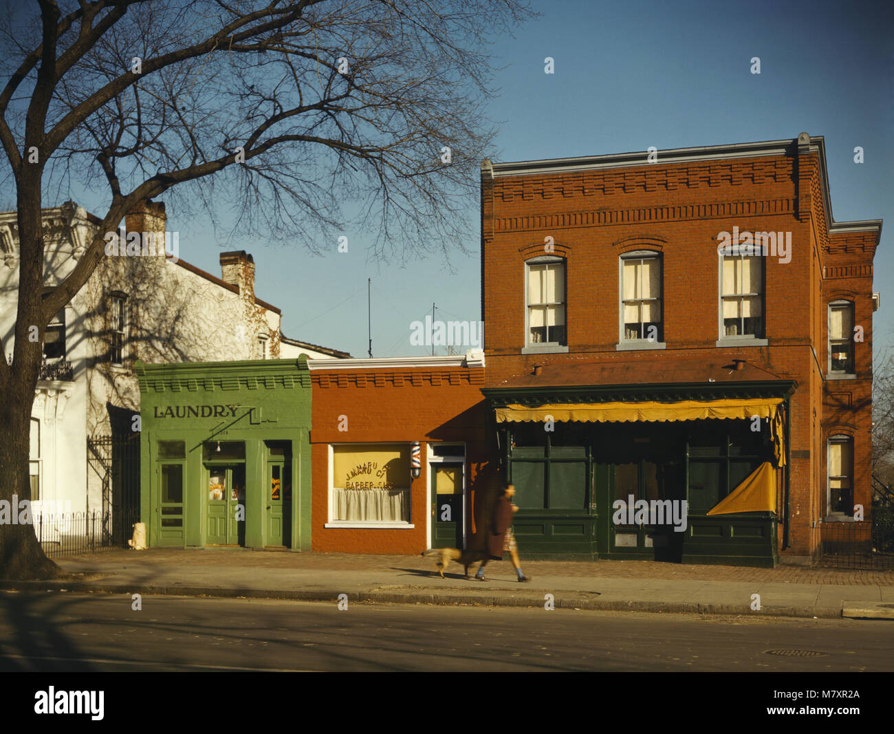 Laundry, Barbershop and Stores, Washington DC, USA, Louise Rosska for Farm Security Administration - Office of War - Stock Image