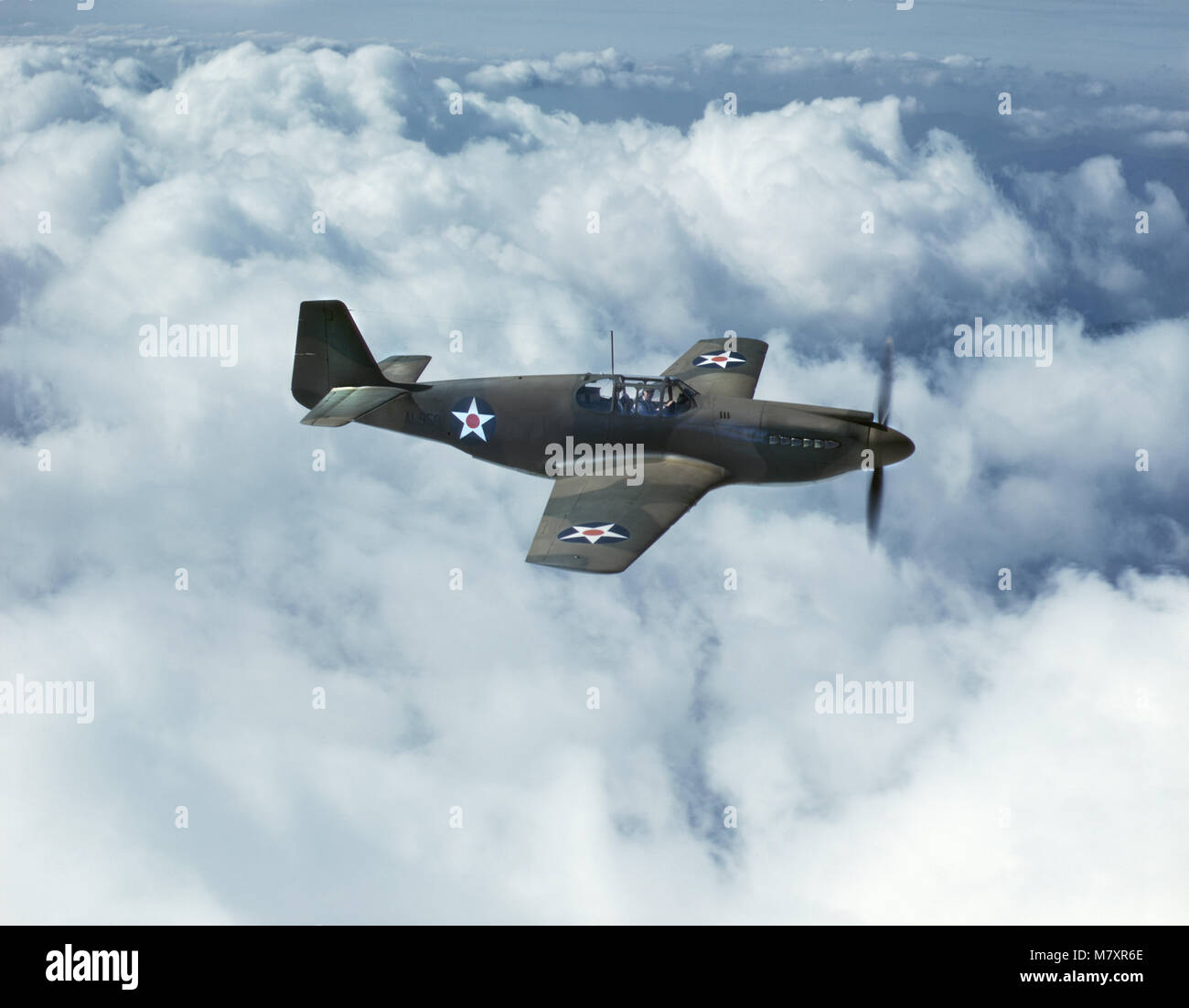P-51 Mustang Fighter during WWII Training Flight, North American Aviation, Inc., California, USA, Mark Sherwood - Stock Image