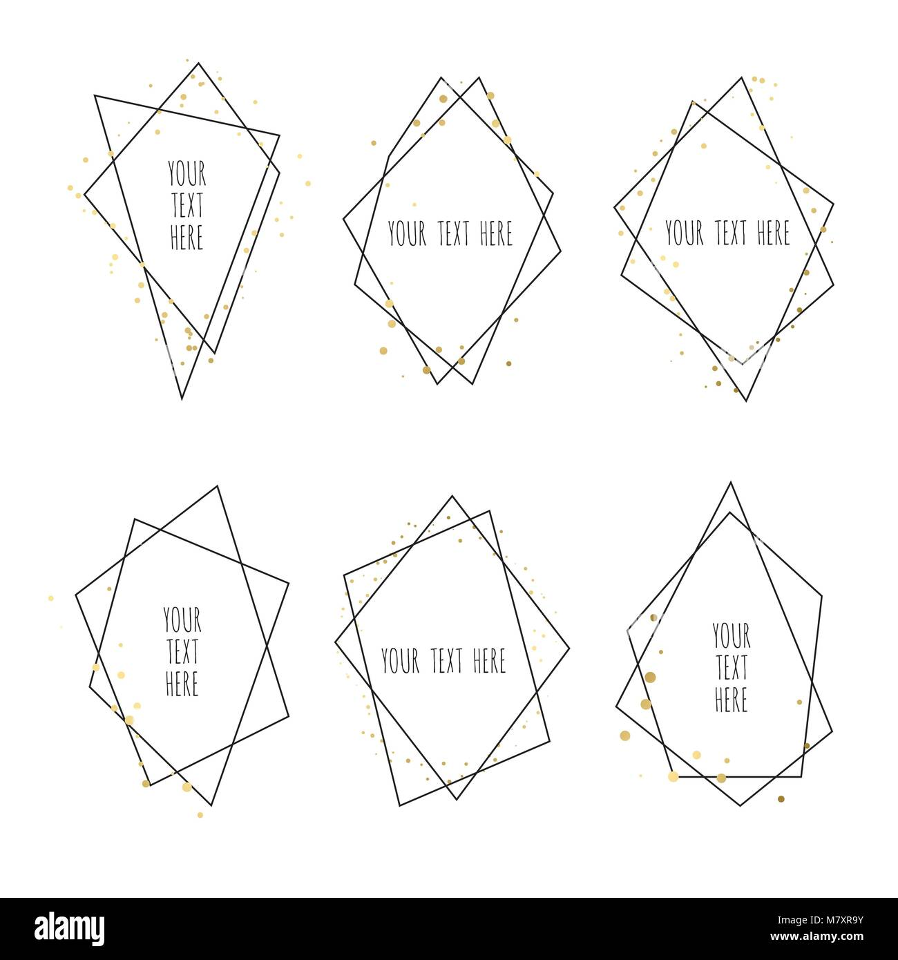 Set of Geometrical polyhedron, Frame border with copy space. Modern abstract vector backgrounds in art deco style. - Stock Image