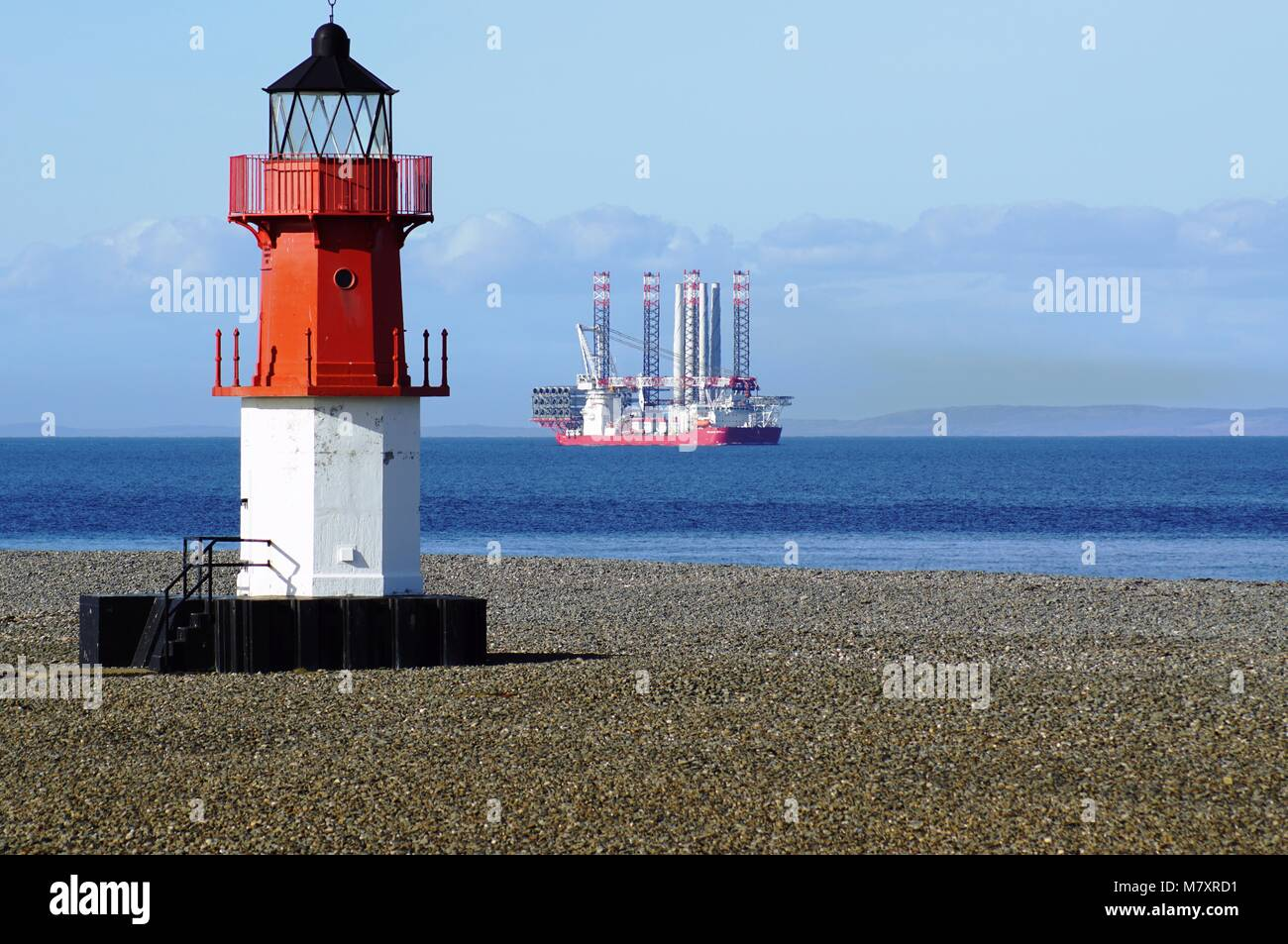 Seajacks Scylla passes the Point of Ayre with another shipment of Wind Farm modules for Walney Wind Farm - Stock Image
