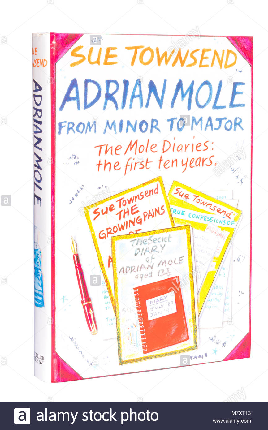 Sue Townsend book cut out or isolated on a white background. Adrian Mole diaries. - Stock Image