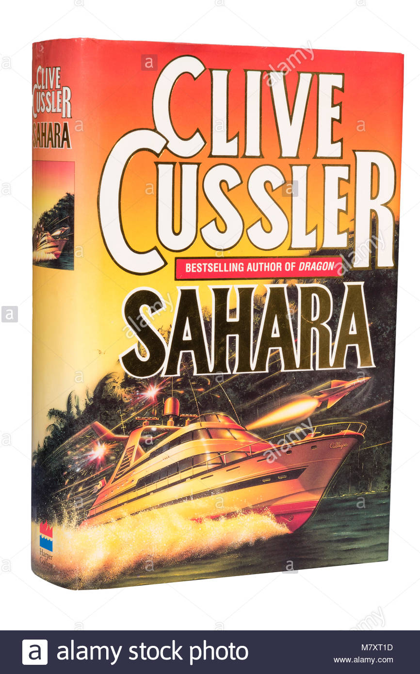Clive Cussler book Sahara, cut out or isolated on a white background. - Stock Image