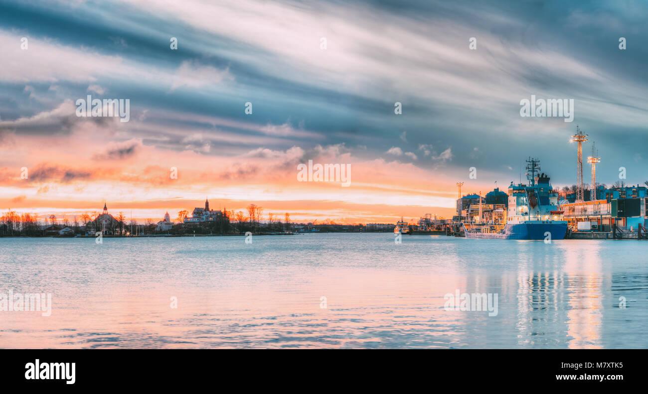 Helsinki, Finland. Sunrise Landscape Of Blekholmen Valkosaari Island And Luoto Island, Port Of Helsinki, Transport - Stock Image
