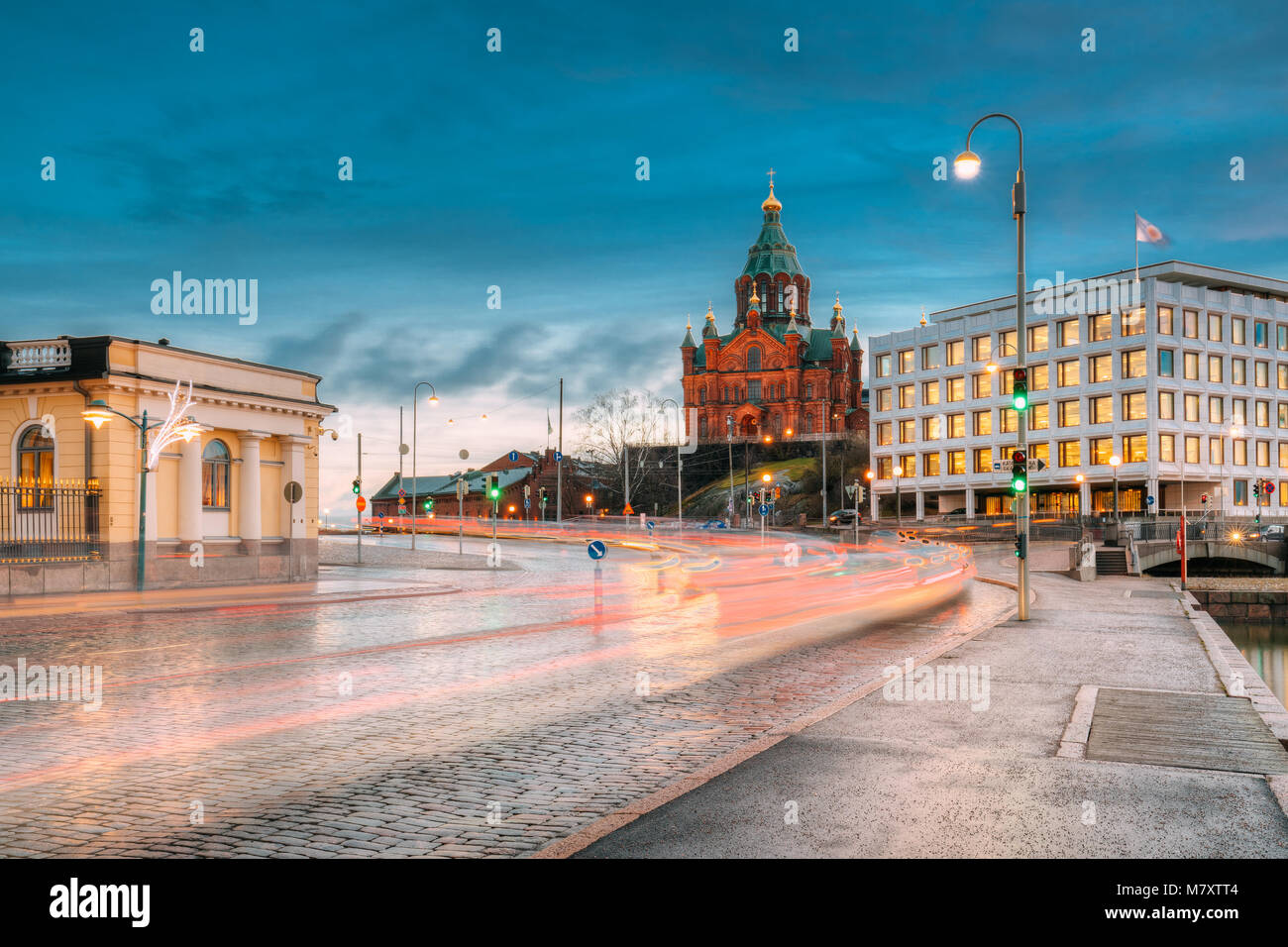 Helsinki, Finland. Uspenski Cathedral In Evening Illuminations Lights. Eastern Orthodox Cathedral Dedicated To Dormition - Stock Image