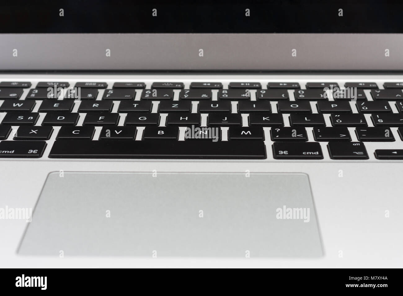 Close up, front view, keyboard on new, modern laptop. - Stock Image