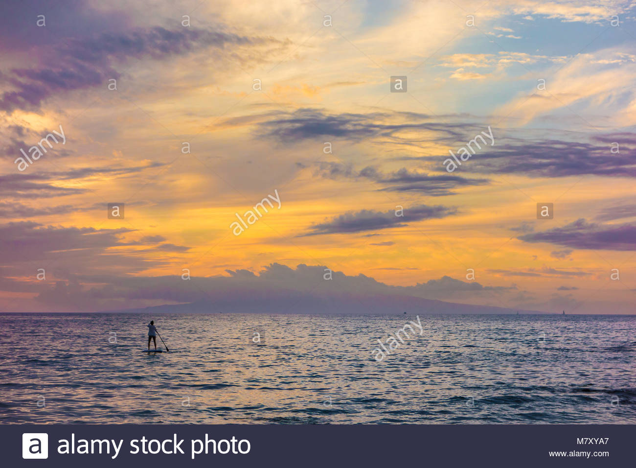 Paddleboarding and tropical sunset from Kamaole Beach Park 3 Pacific Ocean on the island of Maui in the state of - Stock Image