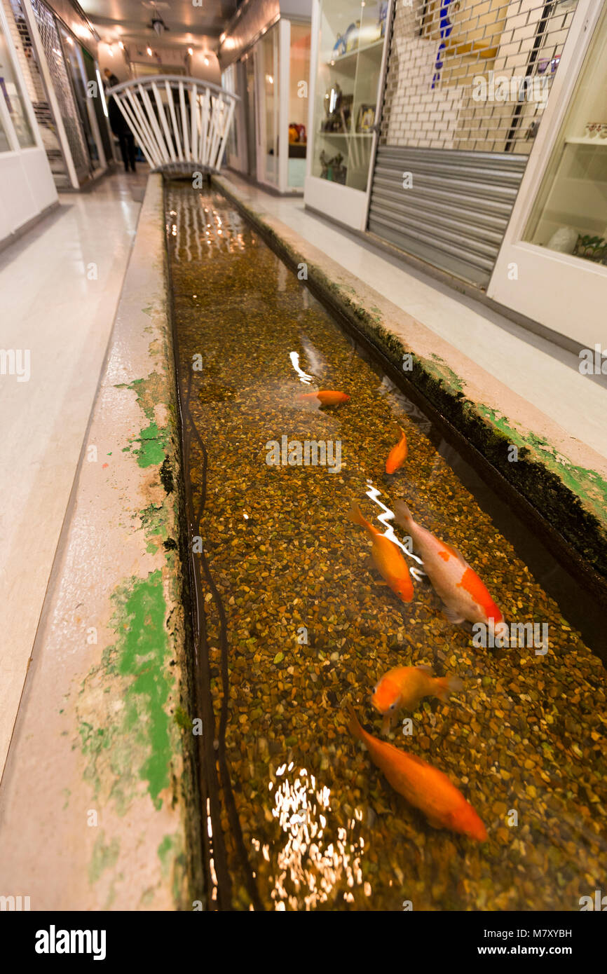 The Tyburn stream (which flows into the Thames) in the basement of Gray's Antiques in Davies Street, W1. London. - Stock Image