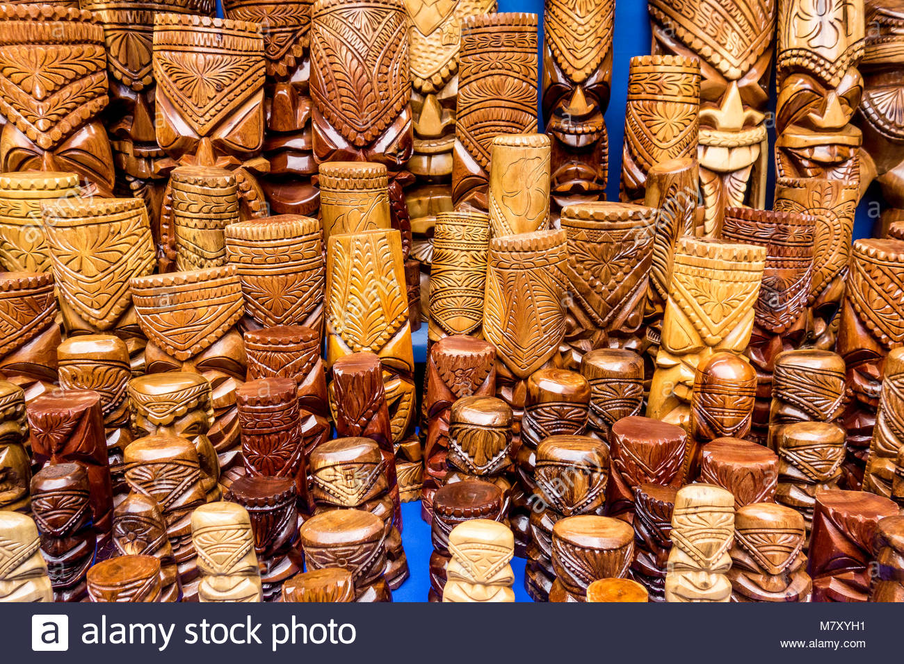 Tiki Hawaiian culture statues for sale in Lahaina on the island of Maui in the State of Hawaii USA Stock Photo