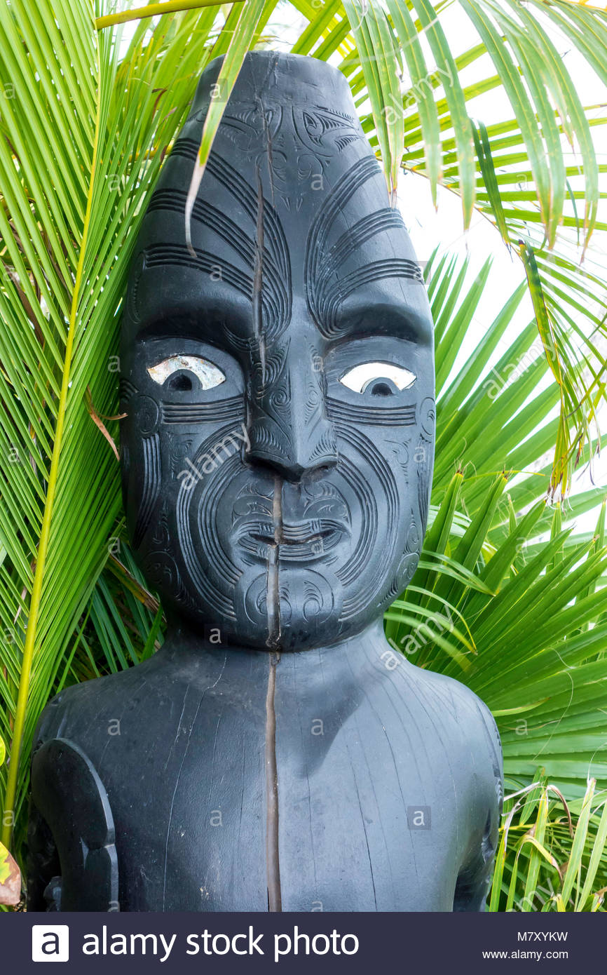 Tiki Hawaiian culture statue in Lahaina on the island of Maui in the State of Hawaii USA - Stock Image