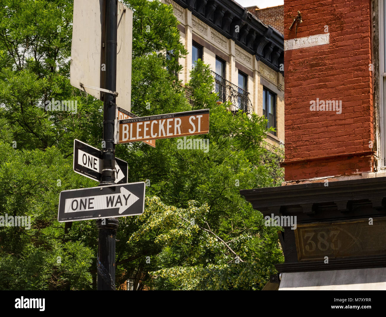 Brown Bleecker St  street sign In Greenwich Village , Manhattan , New York , NY,USA - Stock Image