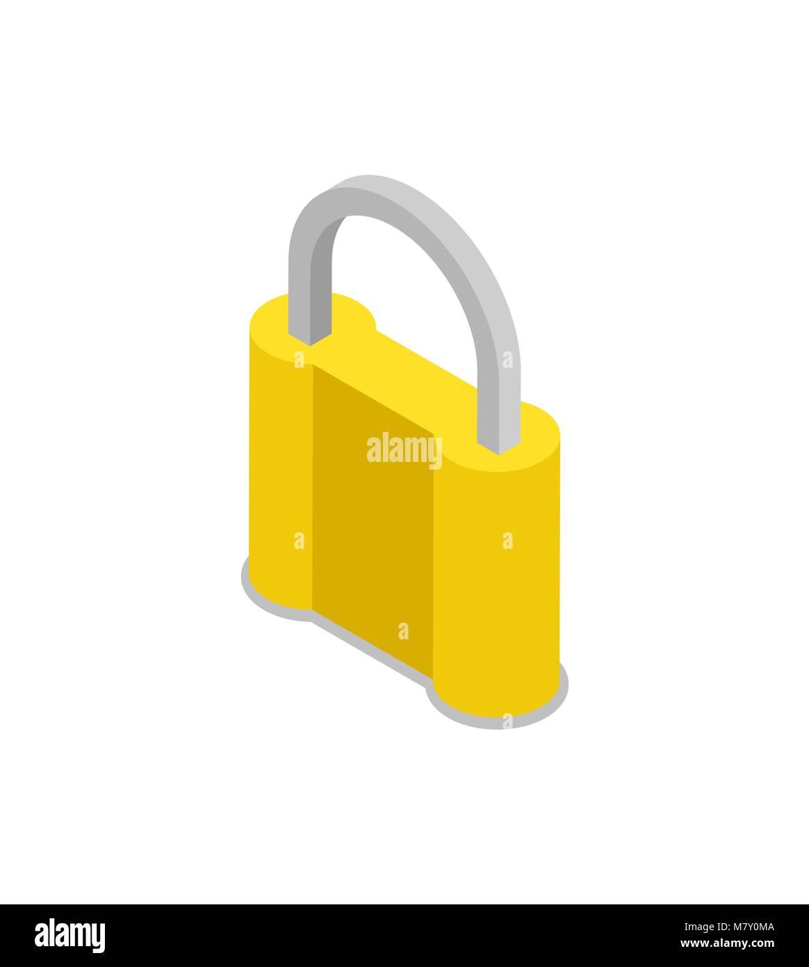 Closed padlock isometric 3D icon - Stock Image