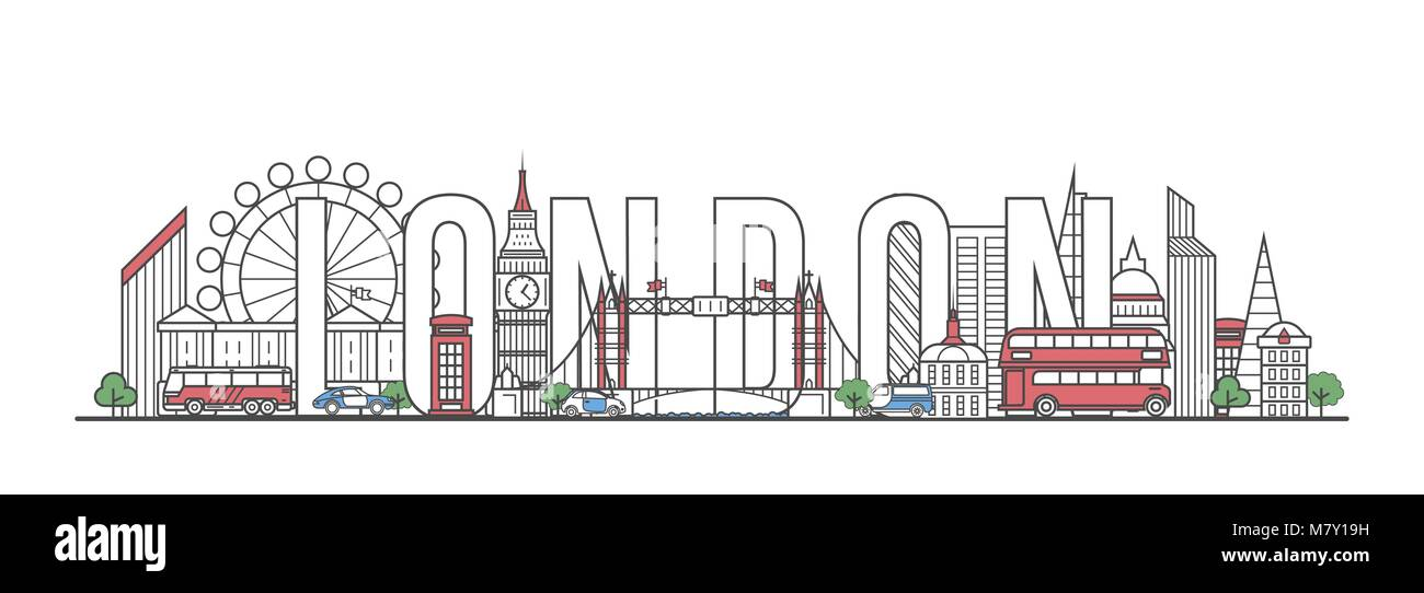 London travel lettering in linear style - Stock Image