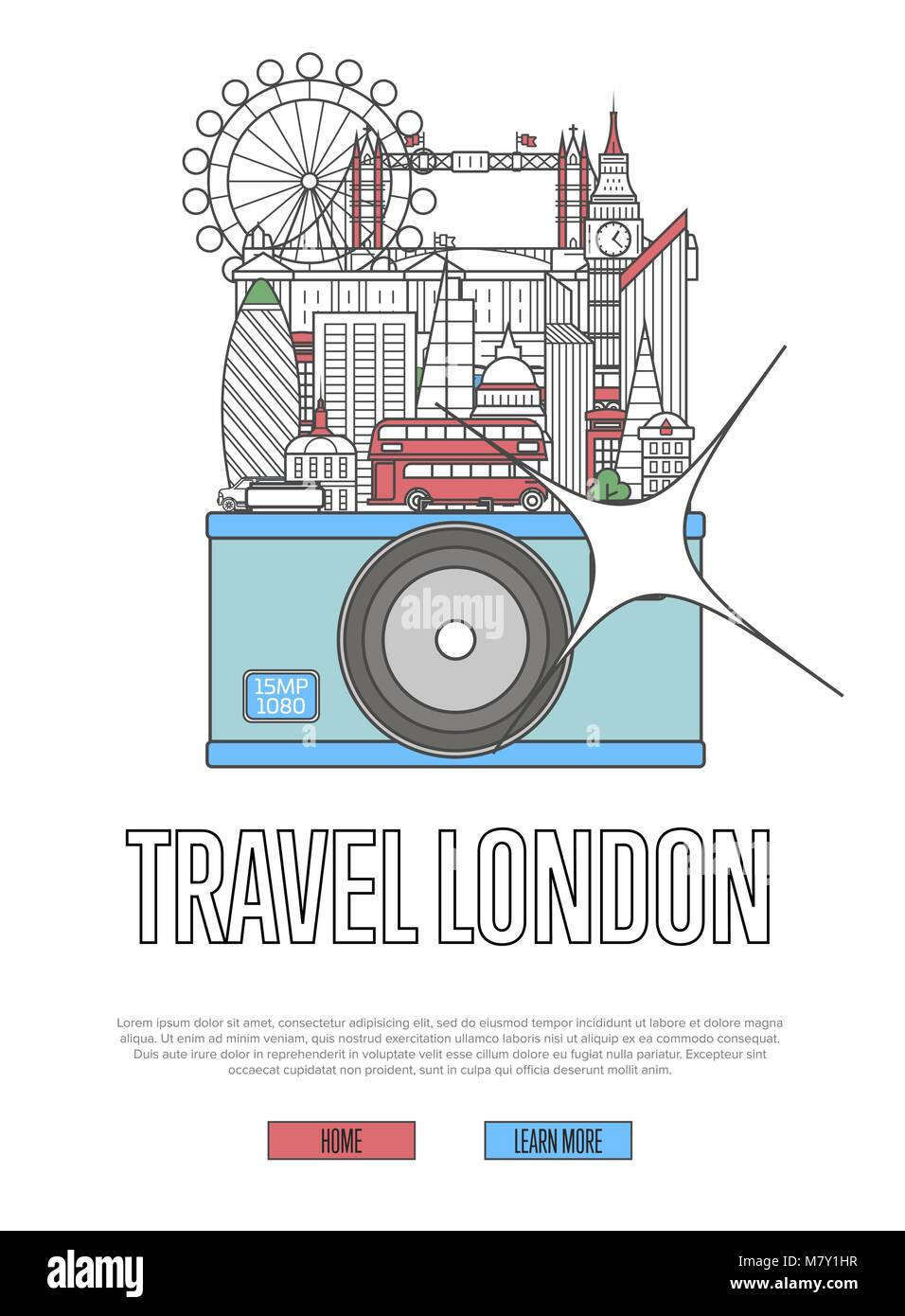 Travel London poster with camera - Stock Image