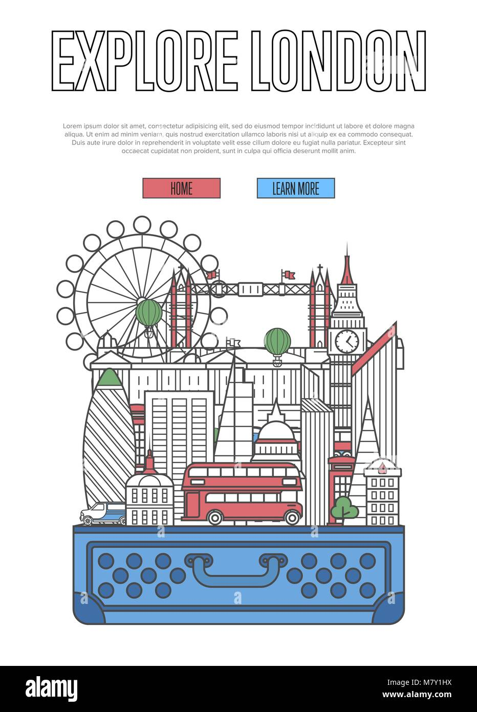 Explore London poster with open suitcase - Stock Image
