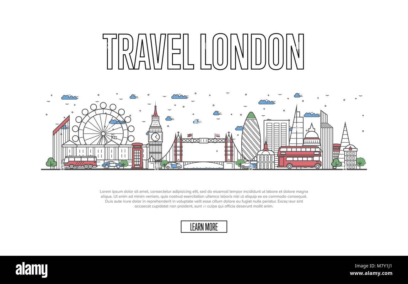 Travel London poster in linear style - Stock Image