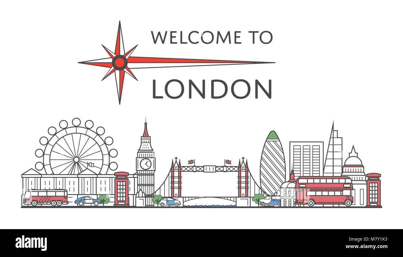 Welcome to London poster in linear style - Stock Image