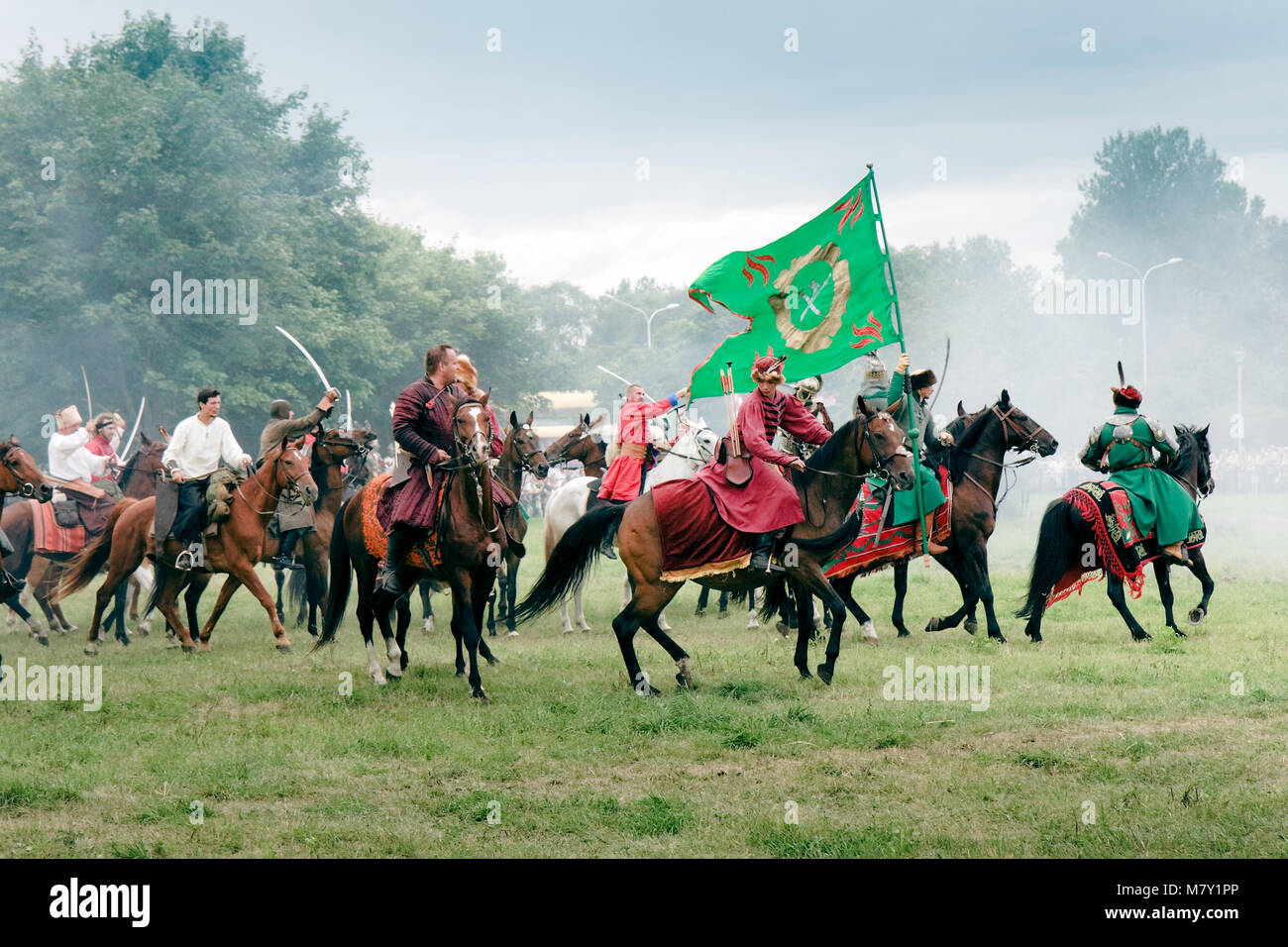 Polish Winged Hussars defeat Russians - Battle of Klushino (KLUSZYN) 1610 - reenactment - July 04, 2010 in Warsaw, Stock Photo