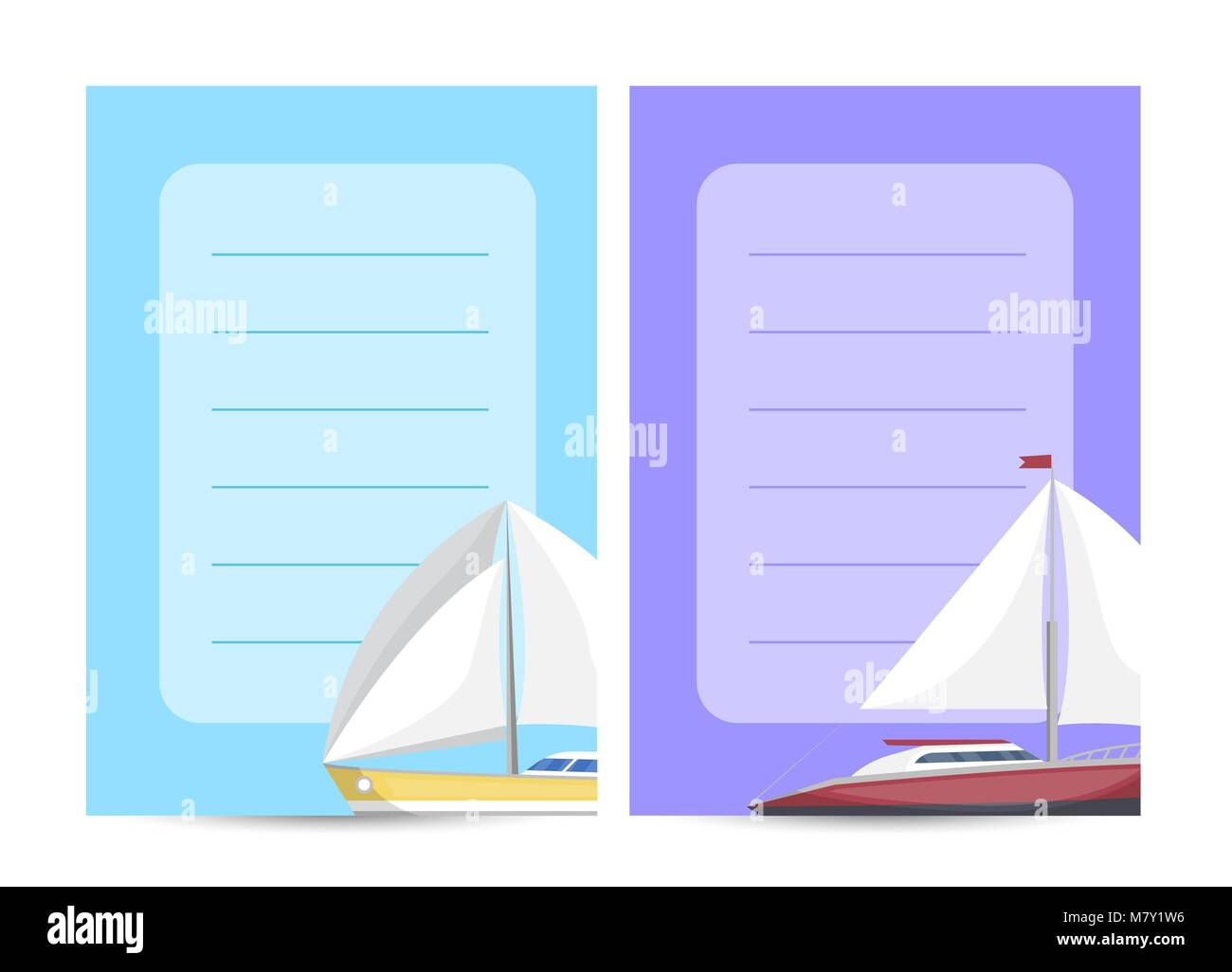 Yachting and cruising card with sailboats - Stock Image