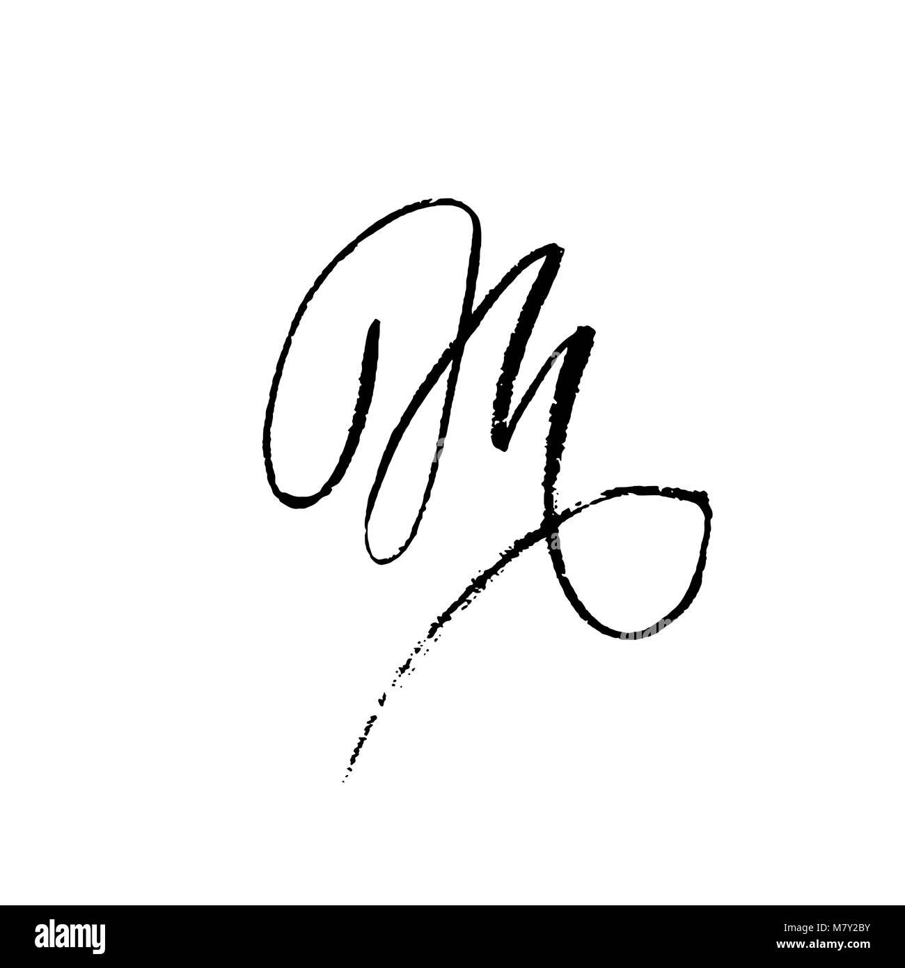 Letter M Handwritten By Dry Brush Rough Strokes Textured Font Vector Illustration Grunge Style Elegant Alphabet