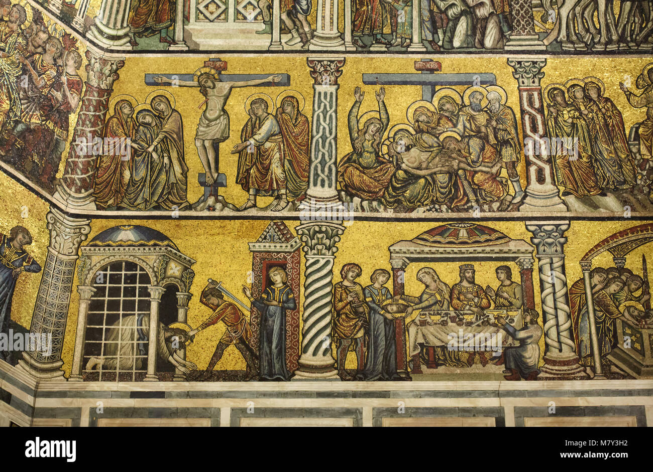 Scenes from the Passion of Jesus Christ and from the Stories of Saint John the Baptist depicted in the medieval - Stock Image