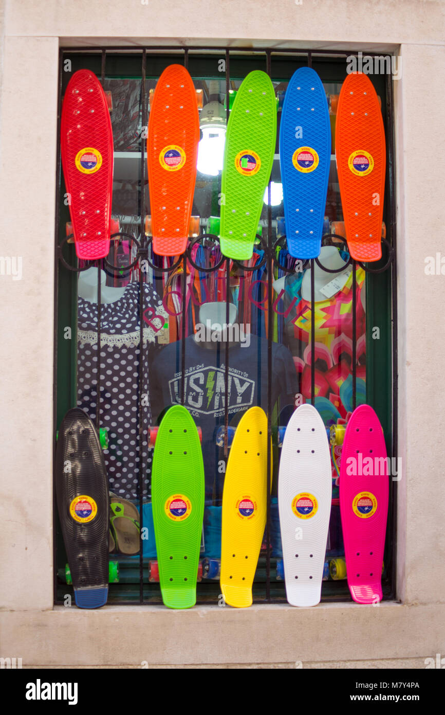 7e487c7b OMIS (ALMISSA), CROATIA, SEPTEMBER 17, 2016 - Colorful skateboards on sale.