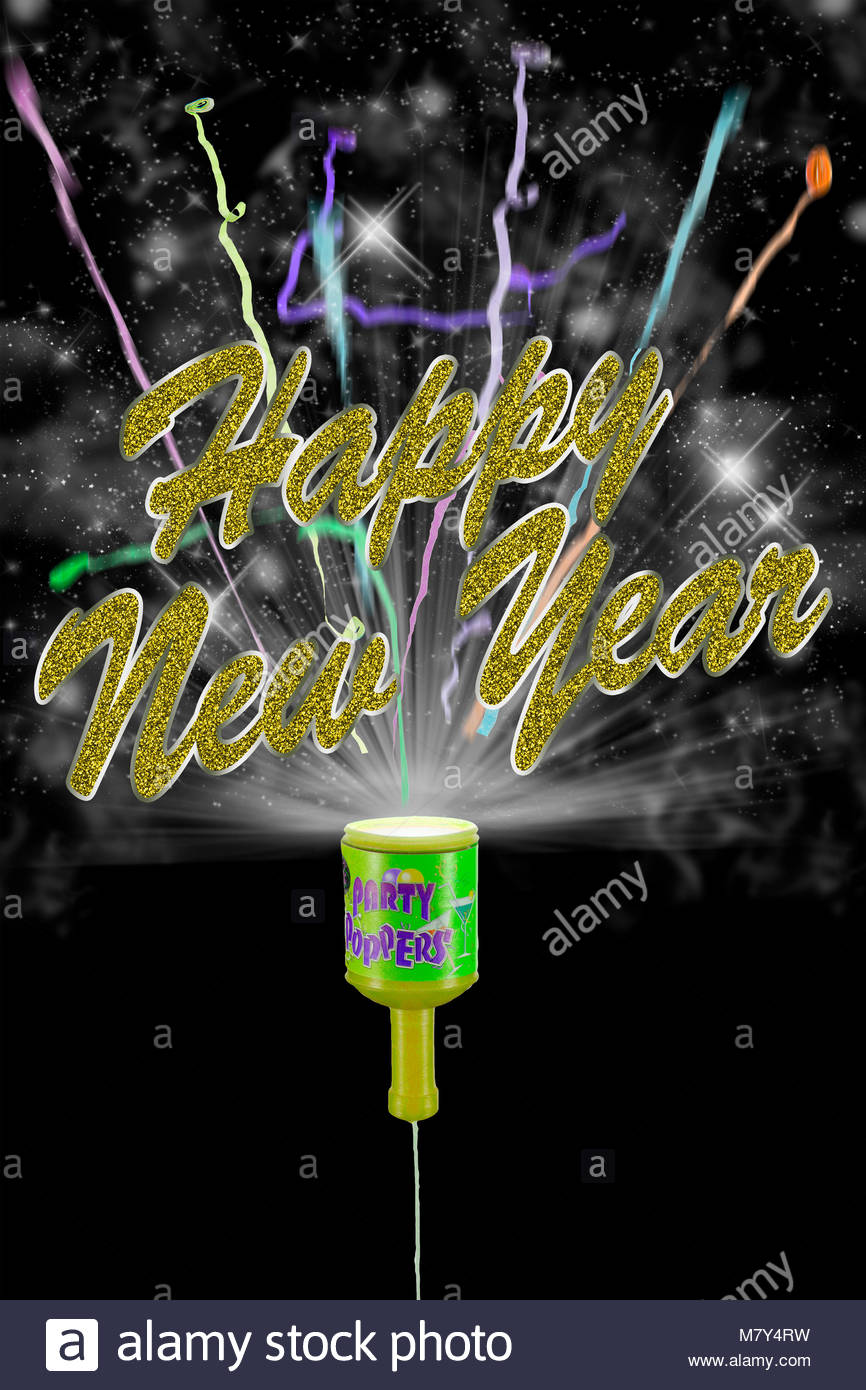 party popper exploding with new year text - Stock Image