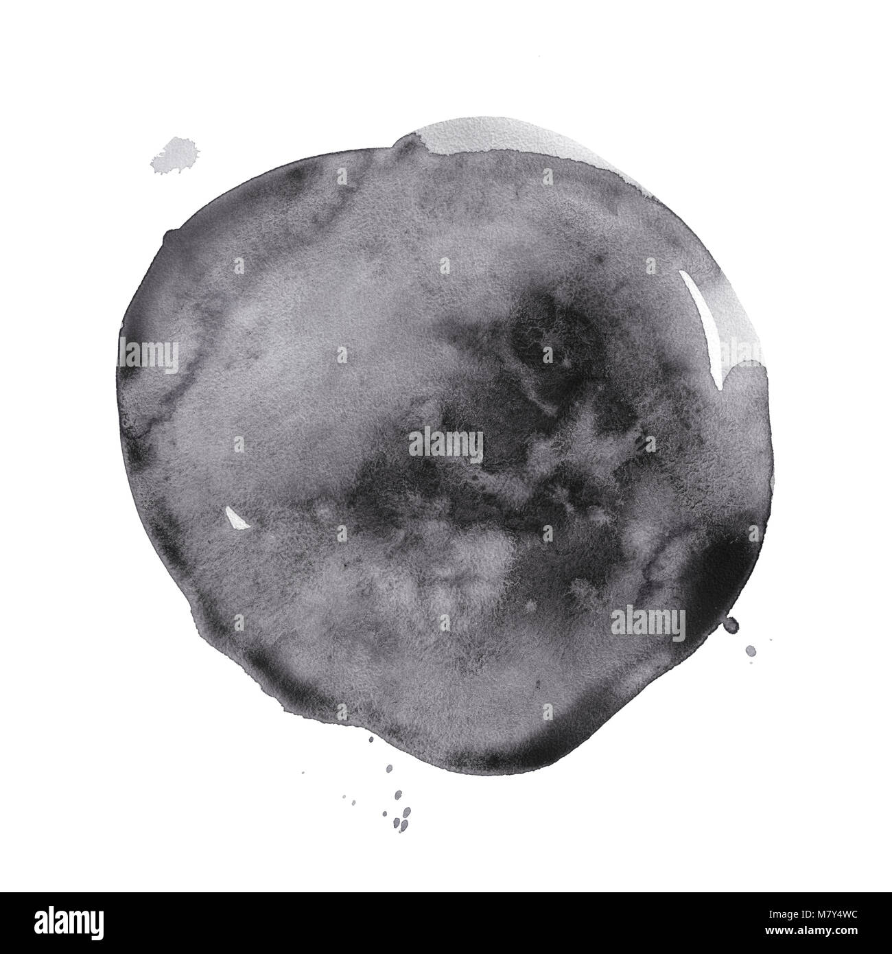Round watercolor black stain. - Stock Image